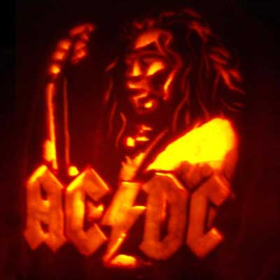 Angus Young from AC/DC carved into a pumpkin