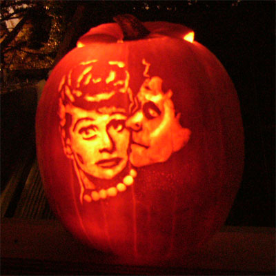 Lucille Ball carved into a pumpkin