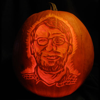 Norm Abram carved into a pumpkin