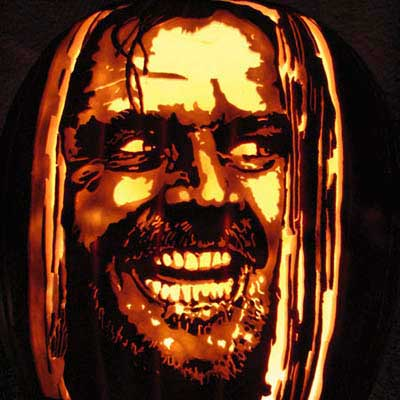 Jack Nicholson in The Shining carved into a pumpkin