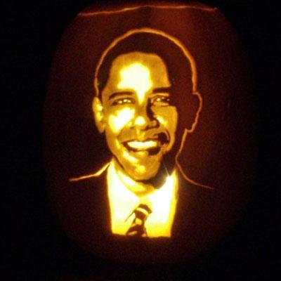 President Barack Obama carved into a pumpkin