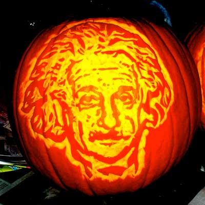 Albert Einstein carved into a pumpkin