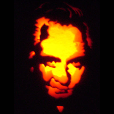 Johnny Cash carved into a pumpkin