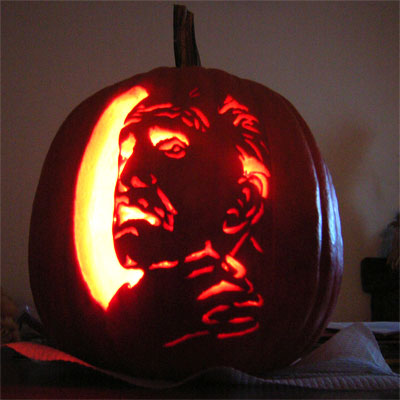 Vincent Price carved into a pumpkin