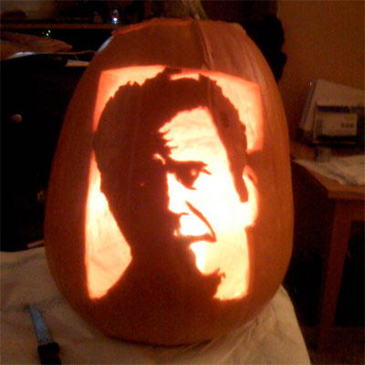 Mel Gibson carved into a pumpkin