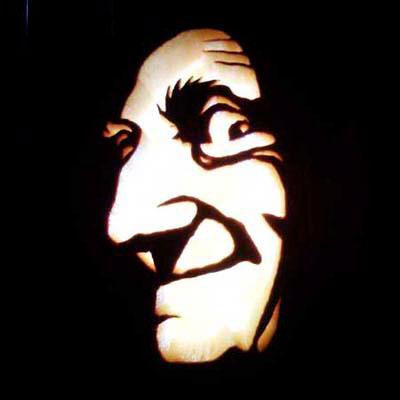 Marty Feldman carved into a pumpkin