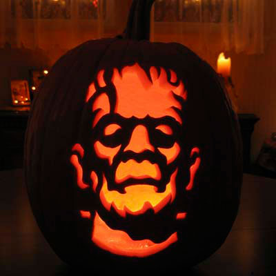 Boris Karloff as Frankenstein carved into a pumpkin