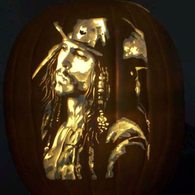Johnny Depp as Captain Jack Sparrow carved into a pumpkin
