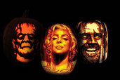 left to right: Boris Karloff, Marilyn Monroe and Jack Nicholson craved in pumpkins