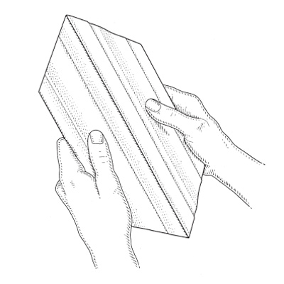 illustration of man sizing picture frame pieces