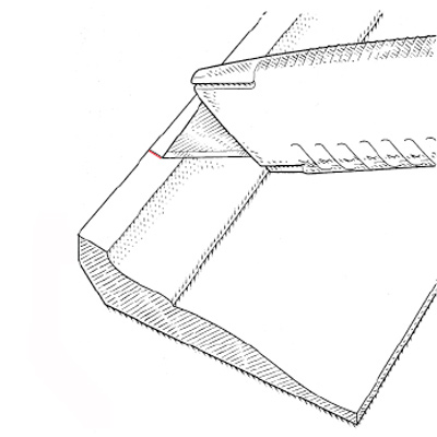 illustration of utility knife marking crown molding