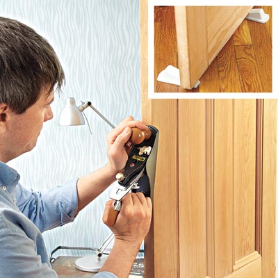 man using wood shaver to unstick door