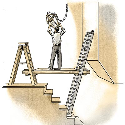 illustration of man working on ladder above stairs