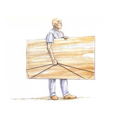 illustration of man carrying plywood