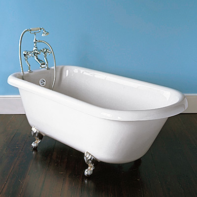 white enameled cast iron tub