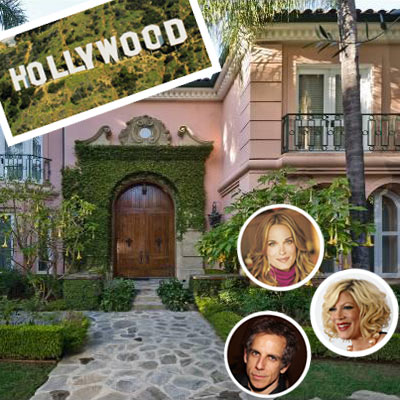 clockwise from left: Ben Stiller, Ozzy Osbourne, Molly Sims and Christina Aguilera's houses for sale