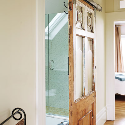 Salvaged sliding door in the remodeled MIller Pelaez home