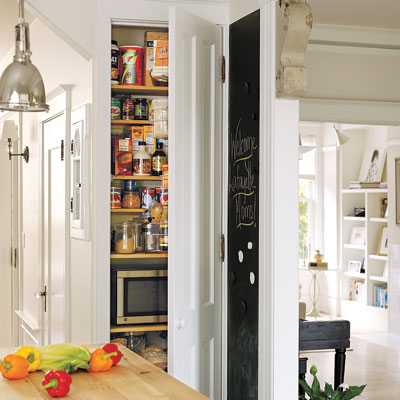 Salvaged pantry door in the remodeled Miller Pelaez family kitchen
