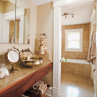 Folk victorian powder room and bath