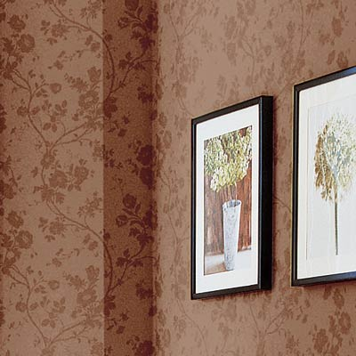 living room with damask walls