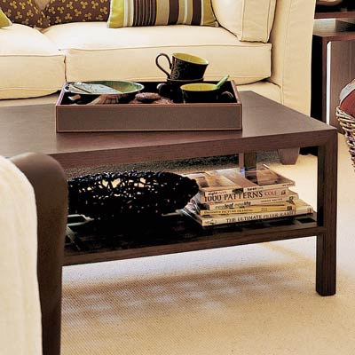 living room with angular coffee table