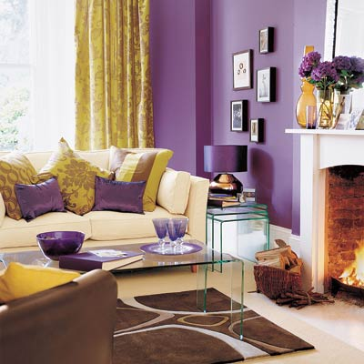 living room with bold and bright design