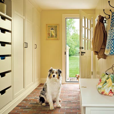 mudroom with open and shut storage