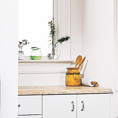 sunny nook pantry with well placed prep space