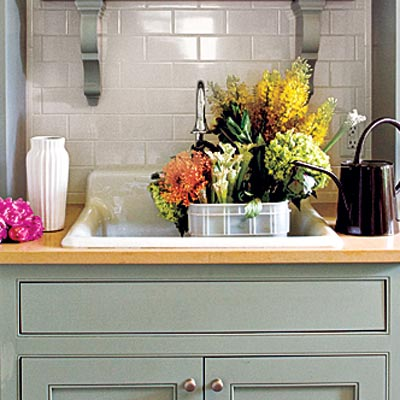 plumbed hutch potting room with rugged rimmed sink