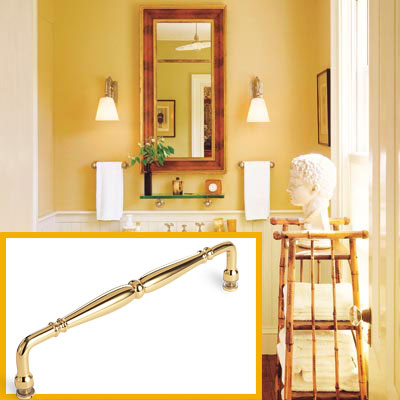 a half-bath furnished with Colonial details, towel bar inset