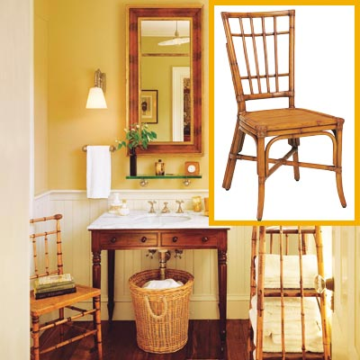 a half-bath furnished with Colonial details, cane chair inset