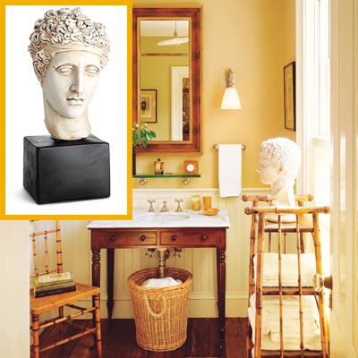 a half-bath furnished with Colonial details, reproduction of a Greek bust inset