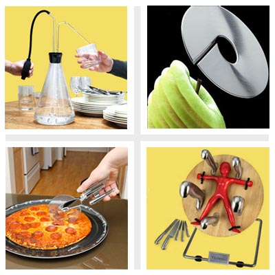 clockwise from top left: knife rack, apple slicer, toaster and egg cracker