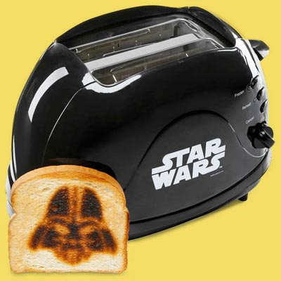 a Star Wars themed toaster that makes an imprint of Darth Vader on the bread