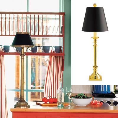 colorful cottage kitchen with buffet lamp