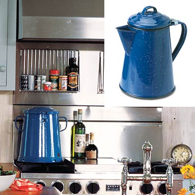 colorful cottage kitchen with enamelware coffee pot