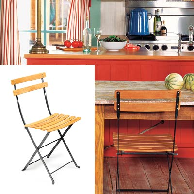 colorful cottage kitchen with bistro folding chairs