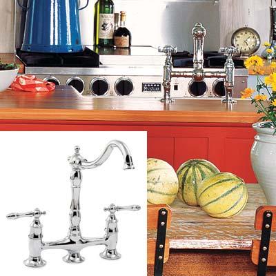 colorful cottage kitchen with bridge faucet
