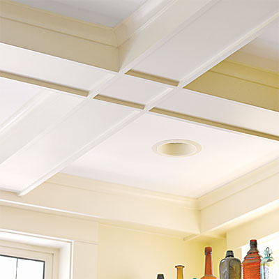 the coffered ceiling in this remodeled period look kitchen
