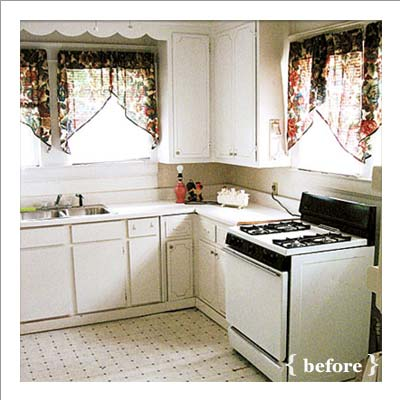 dreary kitchen before 935 dollar makeover