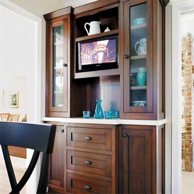 custom built oak and white-quartz hutch in this sunny kitchen remodel