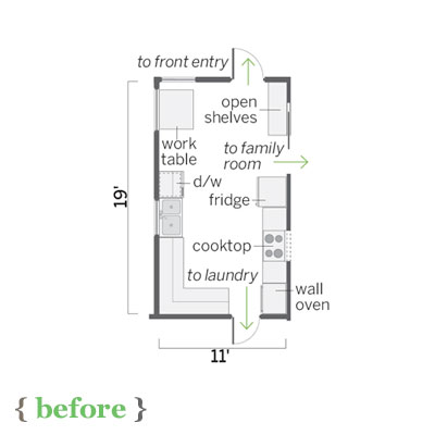 floor plan of  this sunny kitchen before remodel