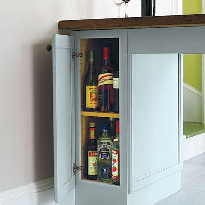 Nicolussi kitchen drink station and storage space