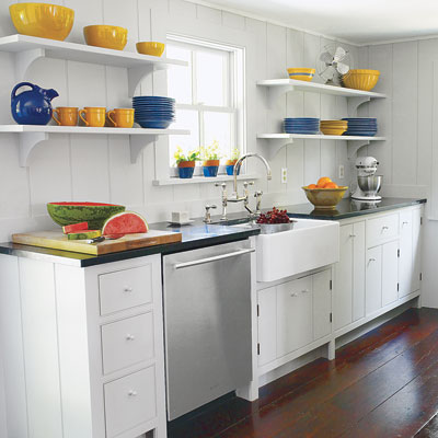Shelving units in remodeled kitchen