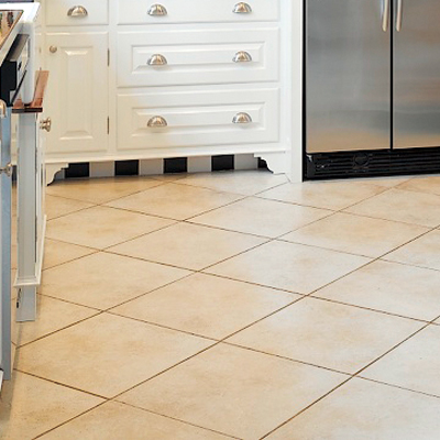 Porcelain floors in the kitchen