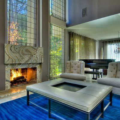 great room and fireplace in john mayer's CA home