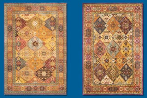2 types of oriental rugs, both from a Persian design, one handmade, the other factory made