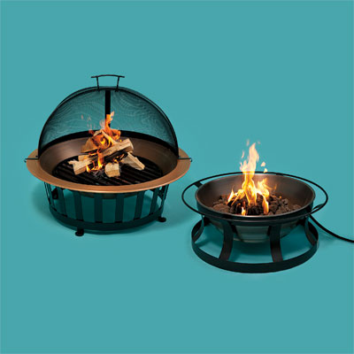 Two copper fire pits
