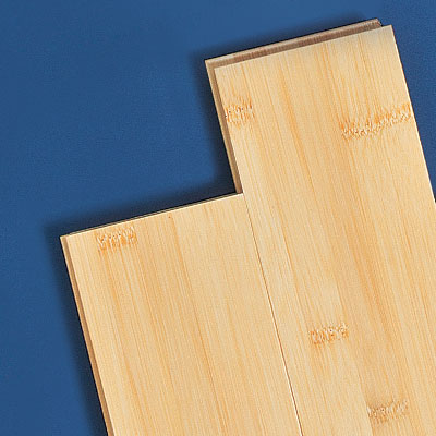Strips of low-end bamboo wood flooring