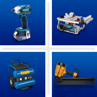 (clockwise from left) an impact driver, a table saw, a framing nailer and air compressor